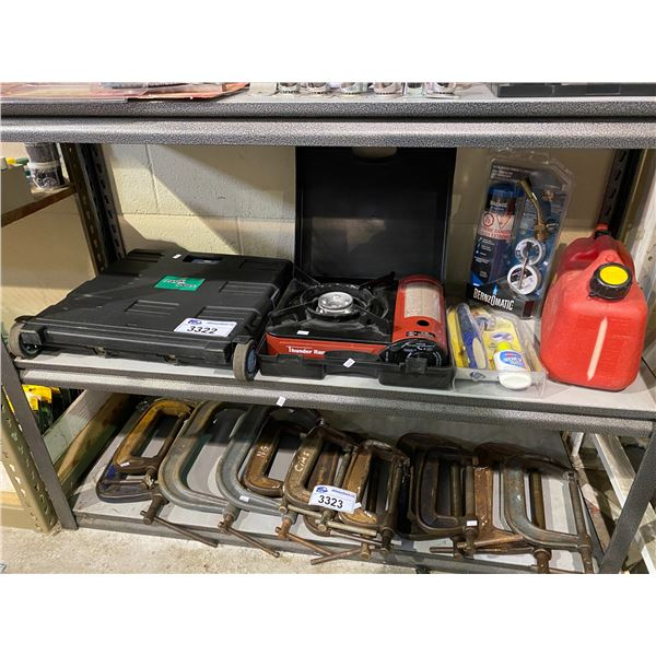 FOLDING CART, THUNDER RANGE STOVE TOP, GAS CAN, BENZOMATIC TORCH, & CARPET CLEANER