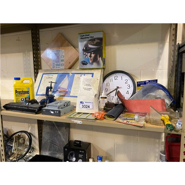 ASSORTED TOOLS, FACE SHIELD, WALL CLOCK, LIGHT HEAD MAGNIFYING GLASS, & MORE