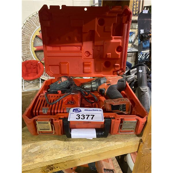 MILWAUKEE CORDLESS DRILL/DRIVER WITH HARD CASE, BATTERY CHARGER & RED LITHIUM BATTERY