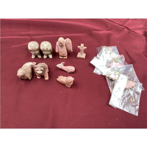 RHODONITE (GEMSTONE) CARVED ANIMALS, TOTEMS AND BROOCHES