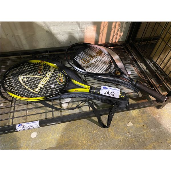 2 TENNIS RACKETS : HEAD & WILSON BOTH WITH PROTECTIVE CASES