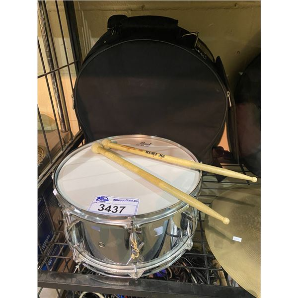 "PEARL SNARE DRUM 14"" WITH BLACK TRAVELLING CASE & 2 DRUMSTICKS"