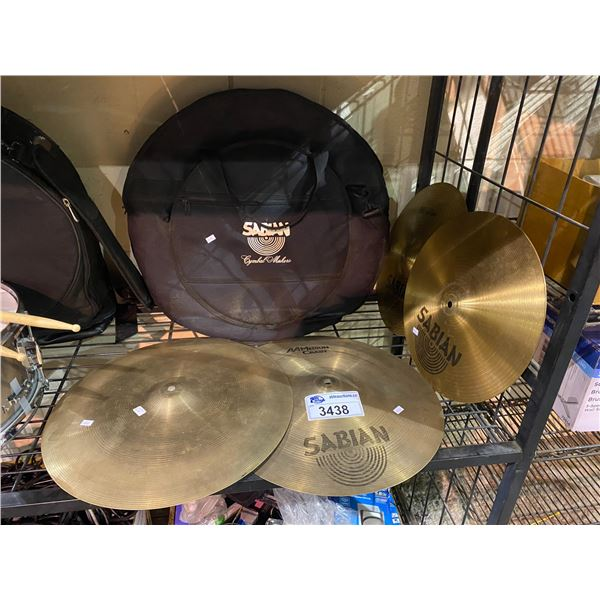 "SABIAN CYMBAL SET IN CARRYING BAG: 14""/36CM HI-HAT SET & 2 17""/43CM MEDIUM CRASH"