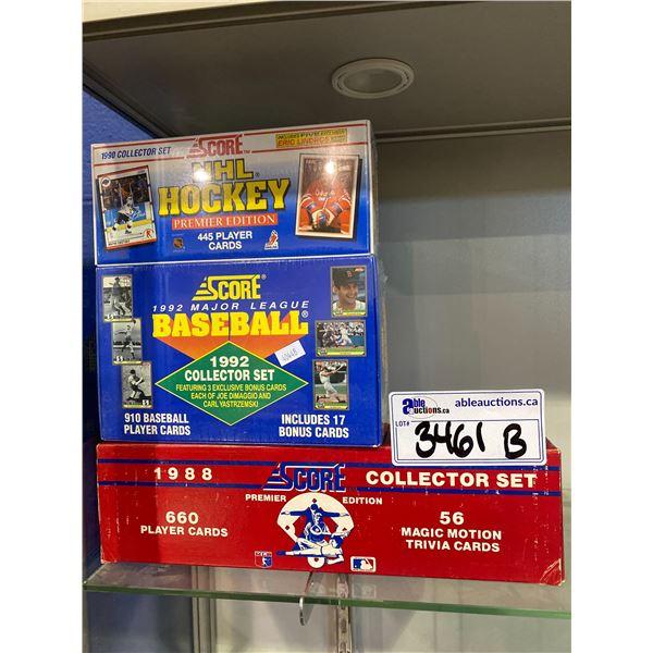 3 BOXES OF SCORE BASEBALL/HOCKEY CARDS (2 NEWLY SEALED)