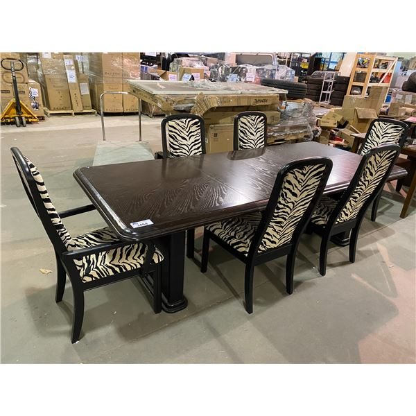 LARGE DINING TABLE WITH 2 LEAF INSERTS & 6 ZEBRA PATTERNED CHAIRS APPROX. 100 X 42""