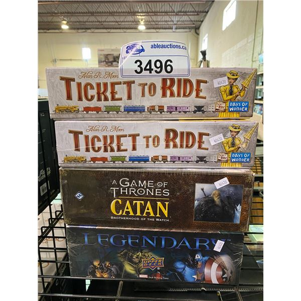 4 ASSORTED GAMES (3 NEW IN PACKAGING): TICKET TO RIDE, GAME OF THRONES CATAN, & UPPER DECK