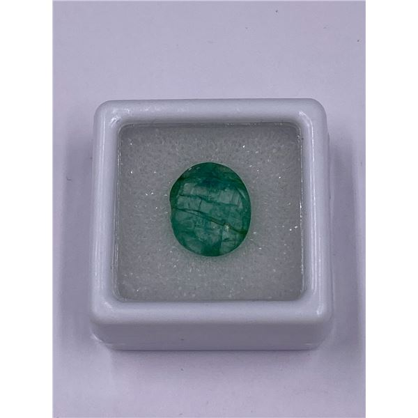 NATURAL BEAUTIFUL EMERALD 5.90CT, 12.59 X 10.64 X 6.59MM, EMERALD GREEN COLOUR, OVAL CUT, CLARITY