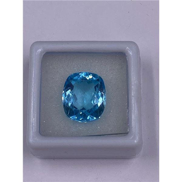 BIG SWISS BLUE TOPAZ 12.36CT, 13.9 X 11.8 X 8.2MM, CUSHION CUT, CLARITY VVS, BRAZIL