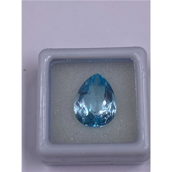 SWISS BLUE TOPAZ 9.68CT, 15.0 X 11.5 X 7.5MM, PEAR CUT, CLARITY IF-LOUPE CLEAN, BRAZIL