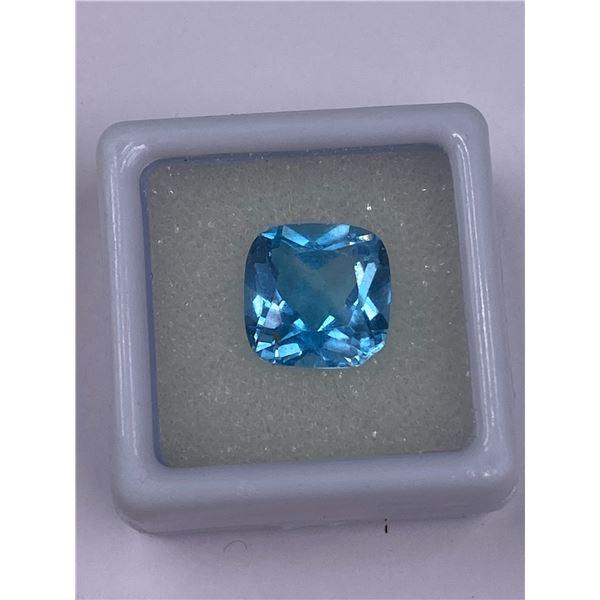 SWISS BLUE TOPAZ 6.89CT, 11.1 X 11.1 X 6.7MM, SQUARE CUT, CLARITY VVS, BRAZIL