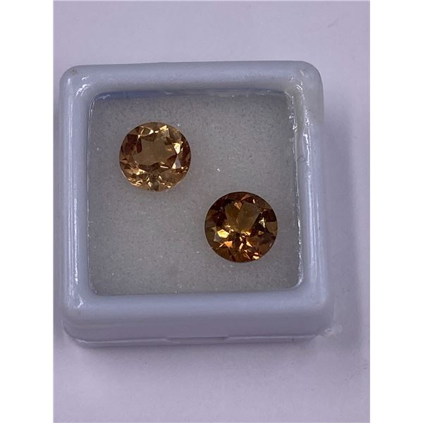 IMPERIAL TOPAZ PAIR 4.60CT, 8.1 X 5.1MM, ROUND CUT, CLARITY IF-LOUPE CLEAN, BRAZIL, CVD
