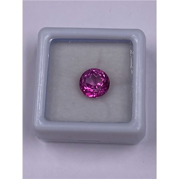 PINK TOPAZ 3.17CT, 8.5 X 6.2MM, ROUND CUT, CLARITY IF-LOUPE CLEAN BRAZIL, CVD