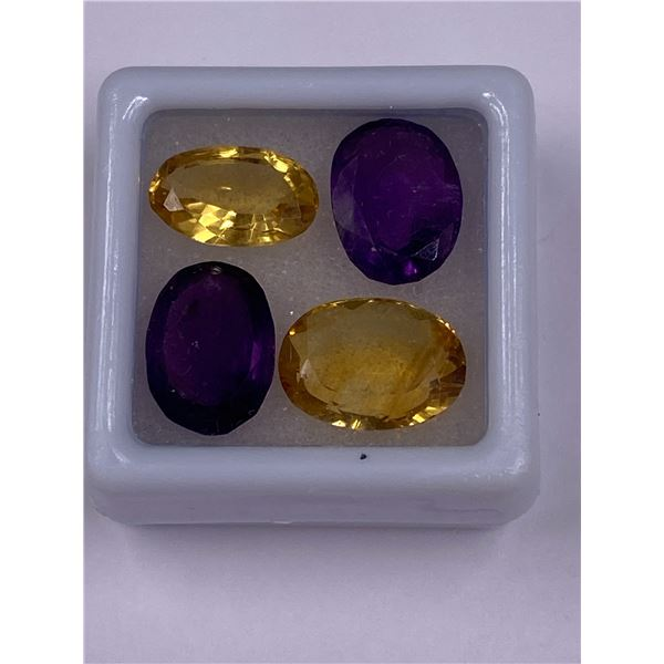 AMETHYST AND GOLDEN CITRINE 14.80CT, 11 X 9 X 5MM, OVAL CUT, CLARITY VVS, BRAZIL, UNTREATED