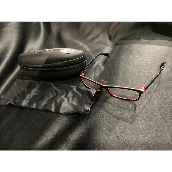 NEW WITH CASE EMPORIO ARMANI BLACK + RED FRAME GLASSES