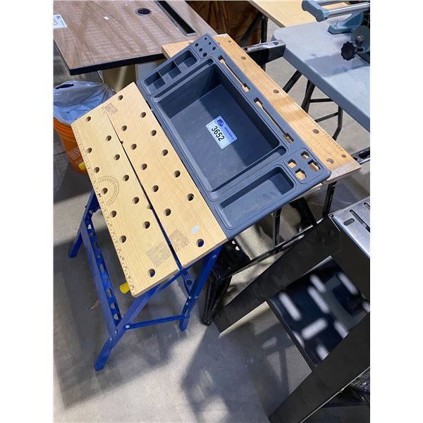 2 SAW HORSE WORKMATE PLUS TABLES