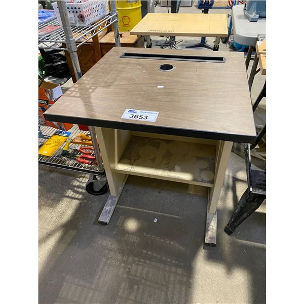"SMALL DESK (24 X 24 X 29"") & HOME DEPOT CAN"