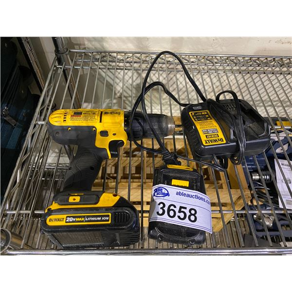 DEWALT CORDLESS DRILL DRIVER DCD771 WITH 2 BATTERIES & CHARGER