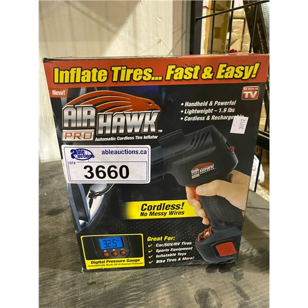 NEW IN BOX AIR HAWK PRO AUTOMATIC CORDLESS TIRE INFLATOR AS SEEN ON TV