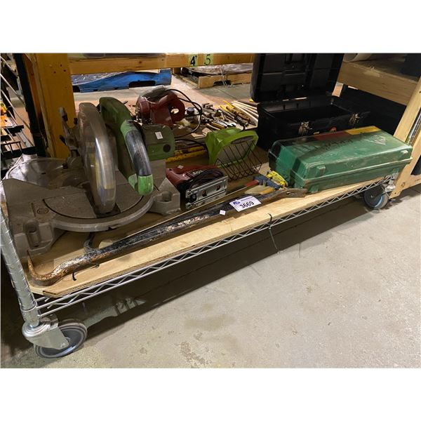 TABLE SAW, CLAMP, CROWBAR, WORK LIGHT, TOOL BOX WITH CONTENTS, & MORE