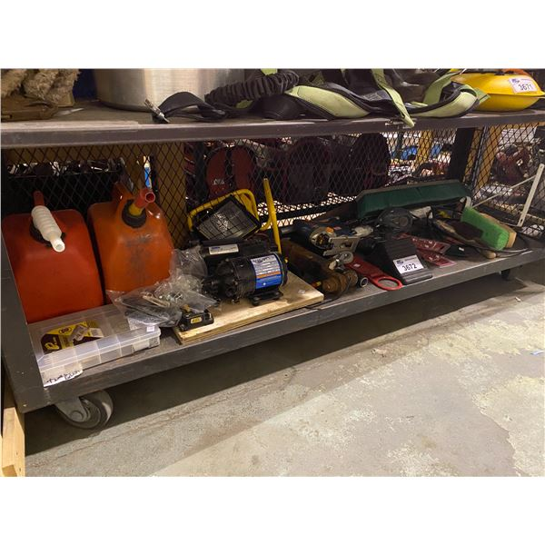 ASSORTED TOOLS, BROOM BRUSH HEAD, GAS JUGS, MOTOR, & MORE