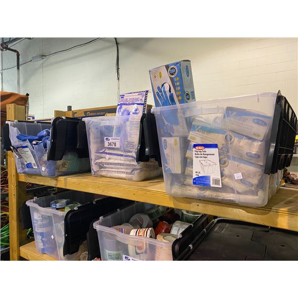 3 BINS OF NEW PRODUCT: BLUE CHIP GLOVES, NORTH VENTED AIR DISPOSABLE COVERALLS, & VIKING NITRILE