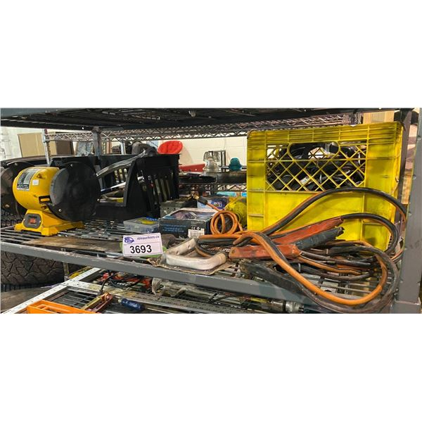 BENCH GRINDER, JUMPER CABLES, ASSORTED TOOLS, & MORE