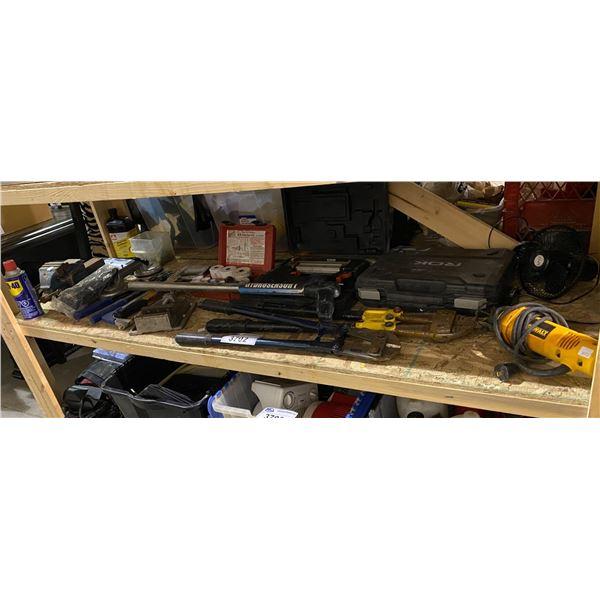 BOLT CUTTERS, NAIL GUN, DEWALT SAW, TABLE FAN, MILWAUKEE DRILL BITS, & MORE