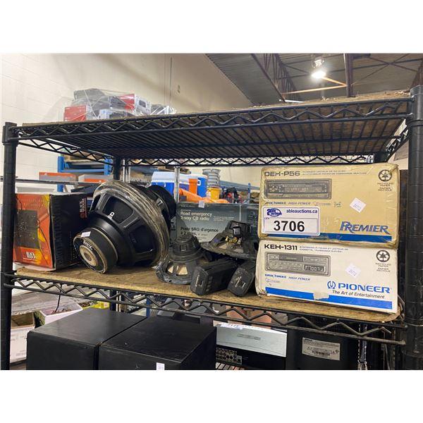 SPEAKERS, CAR RADIO DECKS, 2-WAY CB RADIO, & BLACK WIDOW VEHICLE SECURITY SYSTEM