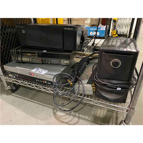 VHS+DVD PLAYER COMBO, PRINTER, SPEAKERS, & MORE