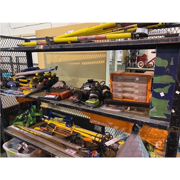 NAIL GUNS, GRINDER, ASSORTED TOOLS, & MORE