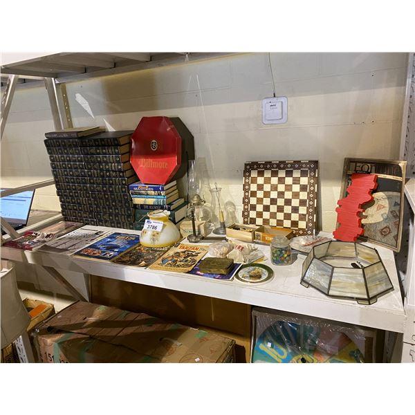 CHESS BOARD + PIECES, ENCYCLOPEDIAS, SHIP BOOKS, MARBLES, & MORE