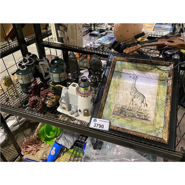 FRAMED ART, CANDLE HOLDERS, PROPANE CANISTERS, BAG OF SOCCER BALLS, MINI COOLER, & MORE