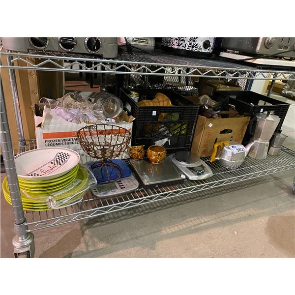 ASSORTED DISHWARE & KITCHEN RELATED ITEMS