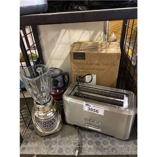 OSTER BLENDER, BREVILLE TOASTER, INSIGNIA TRASH CAN, KITCHEN AID BLENDER