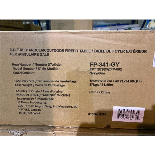 """IN BOX PARAMOUNT GALE RECTANGULAR OUTDOOR FIREPIT TABLE 45.5 X 30.5"""""""