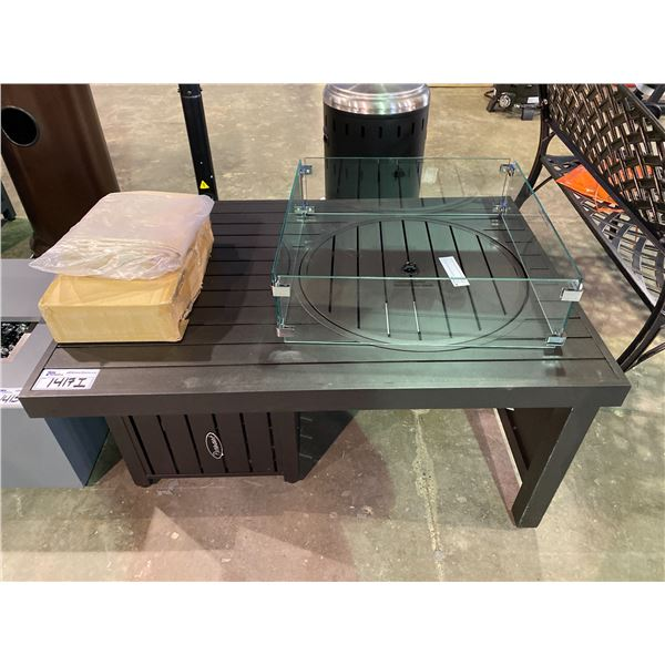 """OUT OF BOX PARAMOUNT OFFSET OUTDOOR FIREPIT TABLE 29 X 41.75""""WITH GLASS GUARD"""