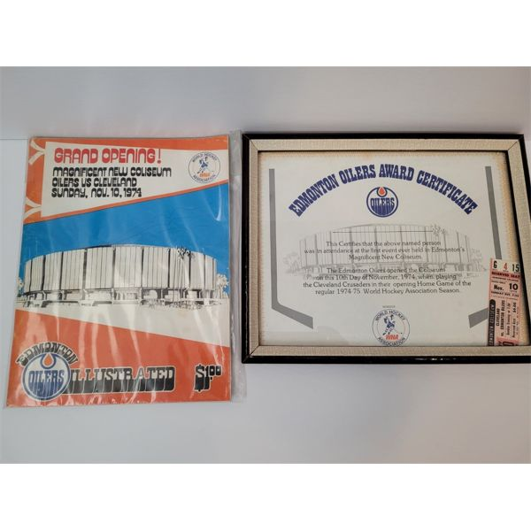 RESERVE LIFTED AND SELLING! 1ST EDMONTON OILERS WHA GAME FRAMED CERTIFICATE, TICKET AND PROGRAM