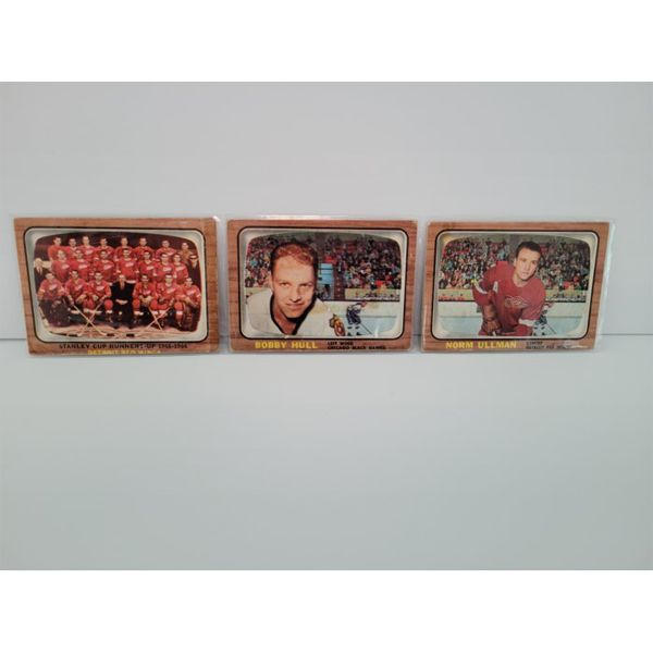 COLLECTIBLE 1966-67 TOPPS HOCKEY CARDS #52,112,119 HULL, ULLMAN, RED WINGS