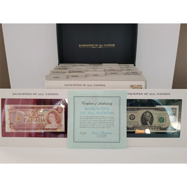 RARE COLLECTIBLE 1980 BANK NOTES AND 1ST DAY STAMPS OF ALL NATIONS 110 PIECES EXCELLENT CONDITION