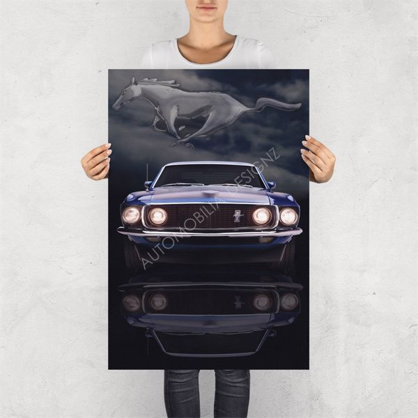 """NO RESERVE LIMITED EDITION PRINT """"THE MUSTANG""""   LIMITED EDITION GLOSSY PRINTS BY AUTOMOBILIA DESIGN"""