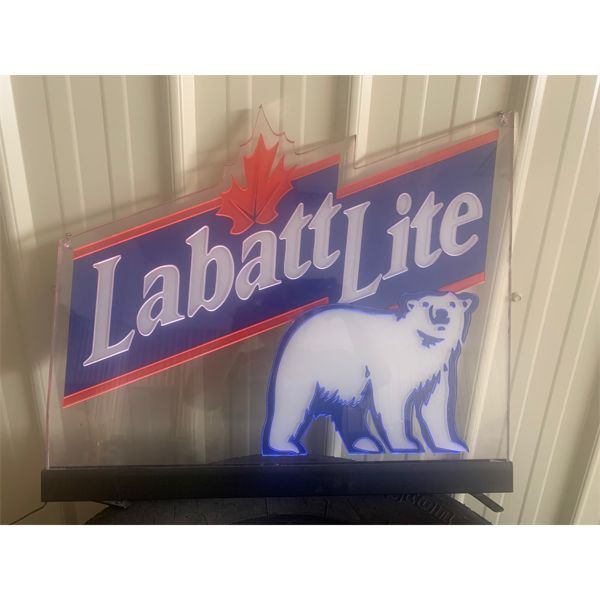 NO RESERVE! Circa 1980s Labatt light polar bear sign. Lights up works well