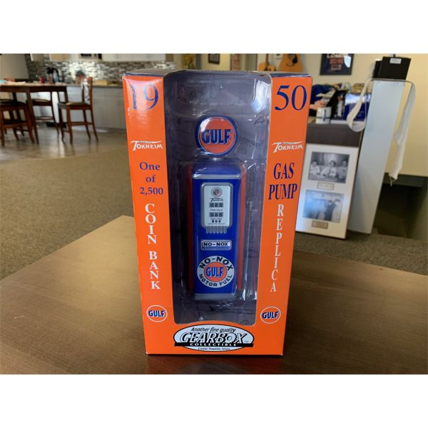 NO RESERVE! Gulf heavy die cast metal gas pump coin bank 1 of 2500 made