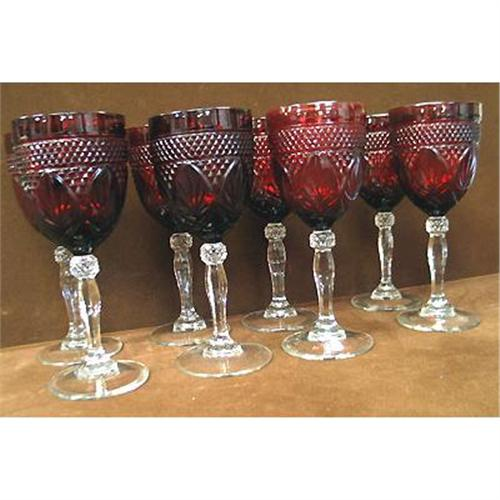 8 Luminarc Arcoroc Ruby Red Wine Glasses