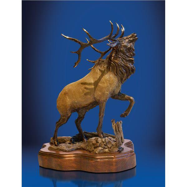 """Bronze Elk Sculptures """"Wapiti"""" 15""""h x 14""""w x 9""""d"""
