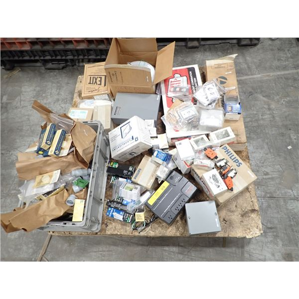 Skid of Bulbs, exit Signs, Electrical & Misc