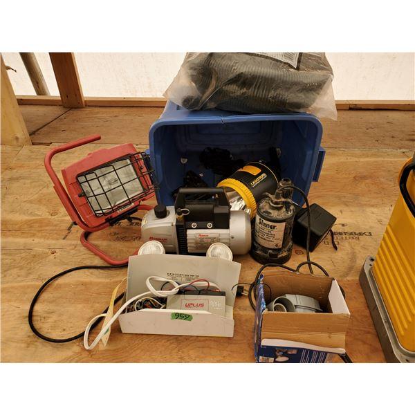 Lot of Misc Tools - Vacuum Pump, Sub Pump, Lights and More