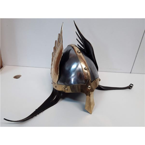Medieval Collectible Knights metal helmet with side brass Wings