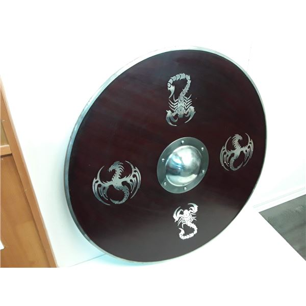 """Collectible Large 30"""" Live Action Roleplay Metal Shield With Zodiac Symbols"""