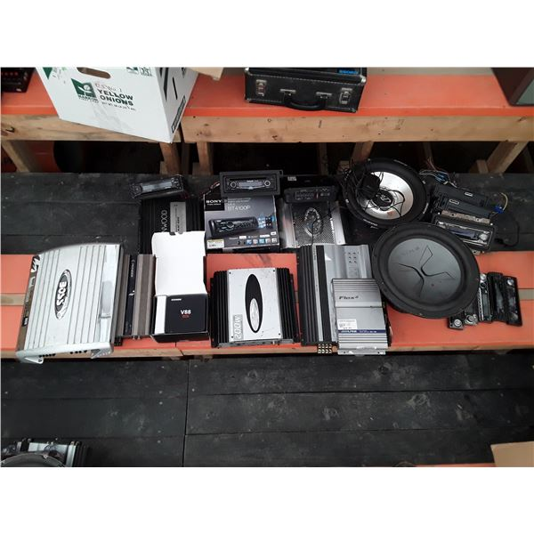 Lot of 6 Amplifiers, Subwoofers and auto stereos