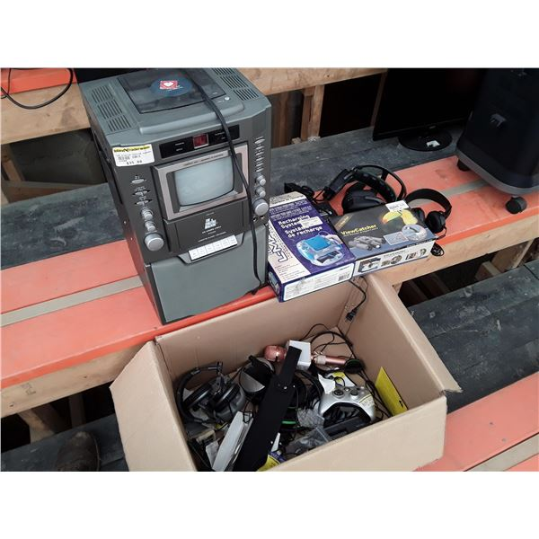 Box lot of electronics Inc. karaoke machine and headphones